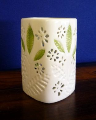 White China Square Oil Burner With Green Leaf. . . . . . .